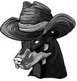 design dobermann dog face with hat vector image vector image