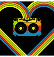 Disco music concept Audiocassette in heart shaped vector image