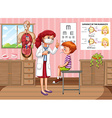 Doctor checking up boy health in clinic vector image vector image