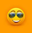 emoji in sunglasses comic icon yellow smile vector image