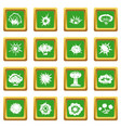 explosion icons set green vector image vector image