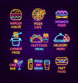 fast food neon label set vector image