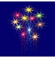 Festive large multi-colored fireworks on a blue vector image