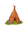 flat icon of ancient man hut on green grass vector image vector image