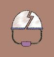 flat shading style icon broken military helmet vector image vector image
