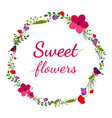 flower frame banner with bird and colorful flowers vector image vector image