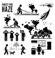 forest fire and haze problems pictograph vector image vector image