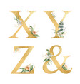 golden glitter alphabet with watercolor vector image