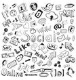 hand drawn icons big set of modern social doodles vector image vector image