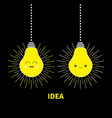 hanging idea light bulb icon set happy smiling vector image vector image