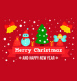 happy merry christmas concept banner flat style vector image
