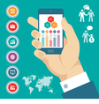 Infographic concept with mobile phone in hand vector image