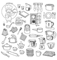 Kitchen utensils and appliances icons set vector image vector image