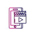 line smartphone technology with clapperboard video vector image vector image
