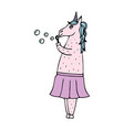 lovely hand-drawn unicorn-girl with soap bubbles vector image