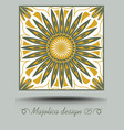 majolica ceramic tile in nostalgic ocher and olive vector image vector image