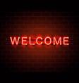 neon welcome signboard vector image vector image