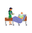 nursing home patient lying in bed and female nurse vector image