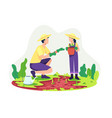 parents gardening with their children vector image vector image