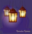 ramadan kareem greetings intricate arabic lamps vector image vector image