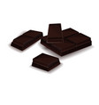realistic set of broken chocolate bars on white vector image vector image