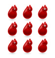 Red blood type medical icons vector image vector image