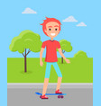 redhead skateboarder ride on skate male vector image vector image