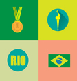 Rio gold medal burning torch and brazil flag icons vector image vector image