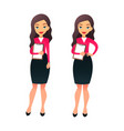 set character businesswoman in various poses vector image