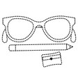 sharpenner school with pencil and glasses vector image