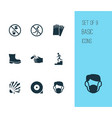 sign icons set with dust mask explosive non vector image