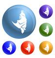 sleeping bat icons set vector image