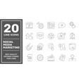 smm icons set collection includes simple elements vector image