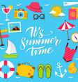 summer time lettering postcard vector image