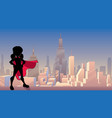 super girl city silhouette vector image vector image