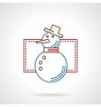 Thin color line snowman icon vector image vector image
