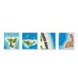 top view set island paradise from seascapes vector image