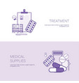 tratment and medical supplies concept template web vector image