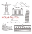 Travel landmarks of Italy Brazil Greece Africa vector image vector image