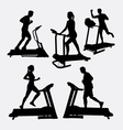 Treadmill sport training silhouette vector image vector image