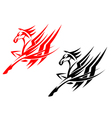 Tribal horse in black and red version vector image vector image