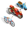 two-wheeled transport isometric set vector image vector image