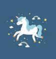 unicorn running rainbows stars fantasy magic dream vector image vector image