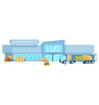 warehouse truck unloading freight in supermarket vector image vector image