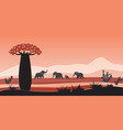 african animals in wild nature landscape africa vector image vector image