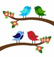 birds colorful on tree branches silhouettes vector image