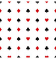 Black and red card suits on white background