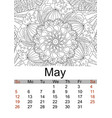 calendar may month 2019 antistress coloring vector image