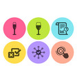 champagne glass survey check and wineglass icons vector image vector image