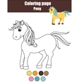Coloring page with cute pony horse Educational vector image vector image